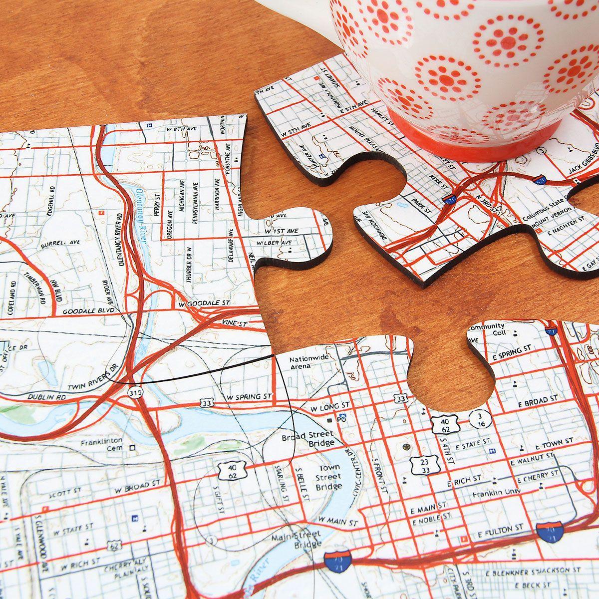 Personalized Jigsaw Map Coasters