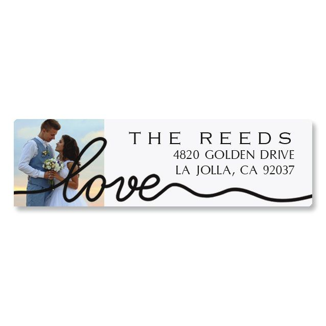 Love Classic Black Personalized Photo Address Label