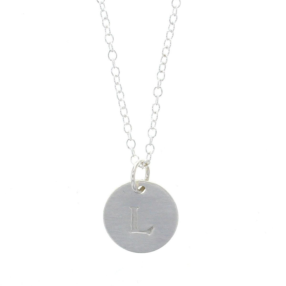 Sterling Silver Token Initial Necklace