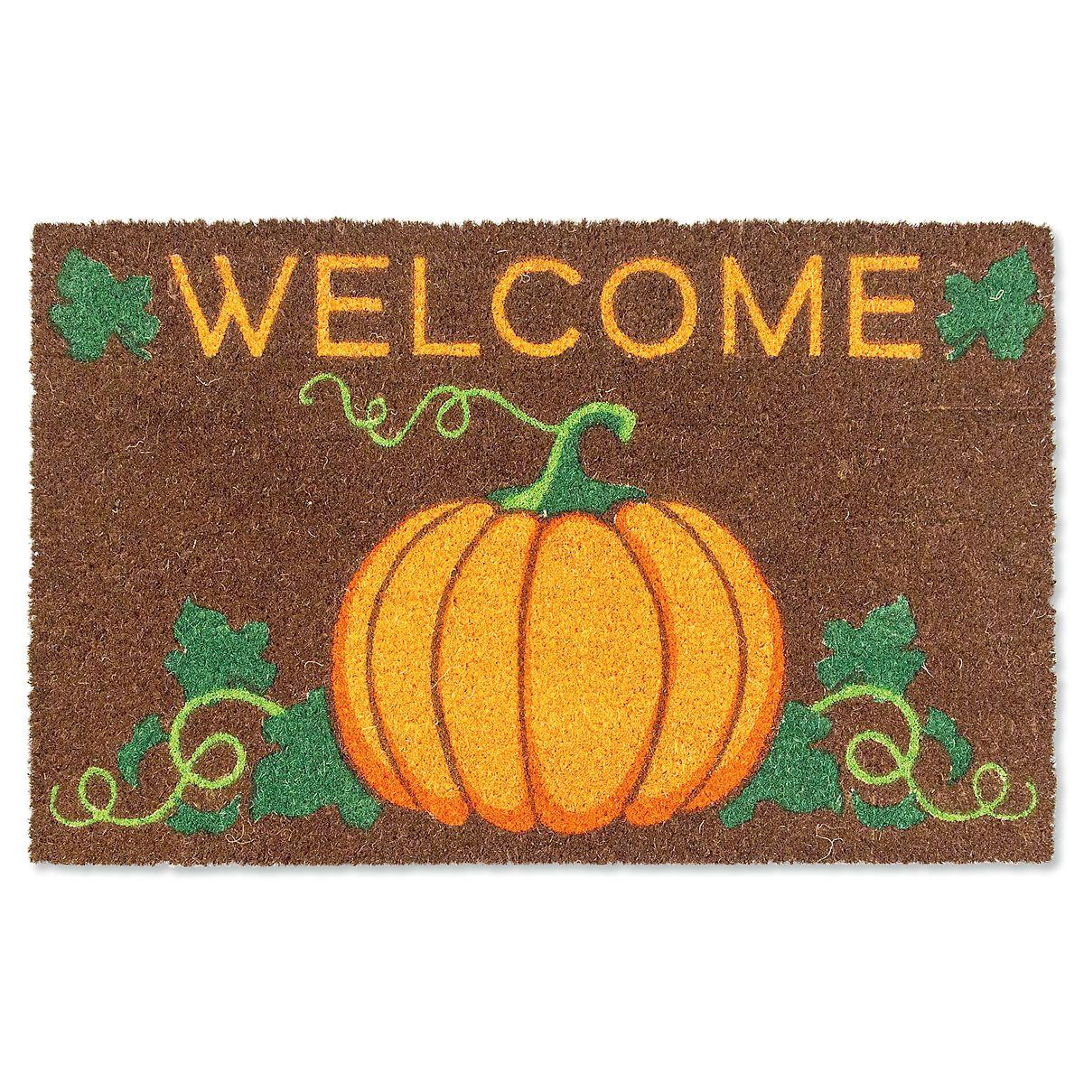 Welcome Pumpkin Coir Mat