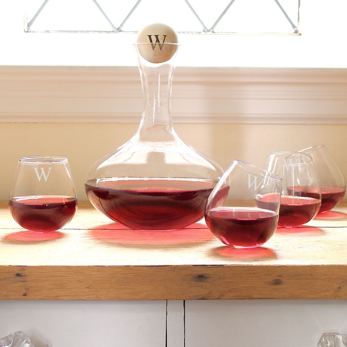 Personalized Decanter & 4 Tipsy Wine Glasses Set
