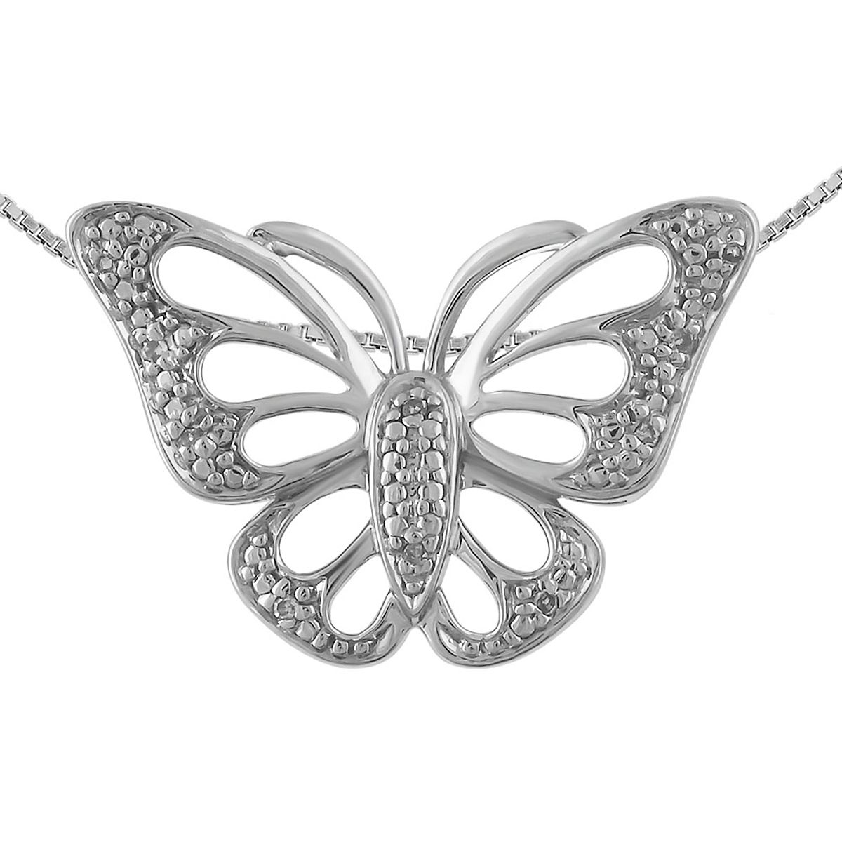 "Diamond Accent Butterfly Pendant with 18"" Chain"