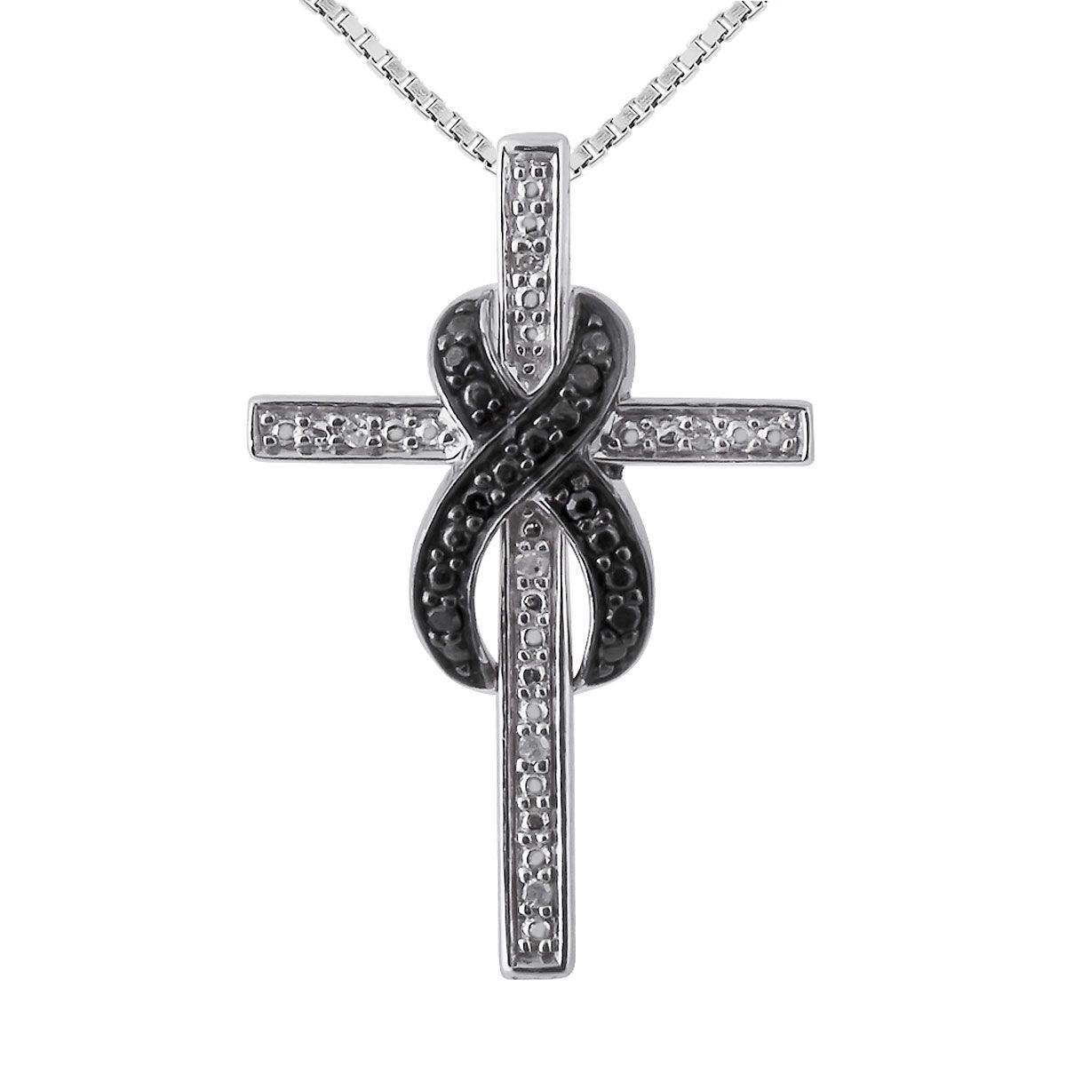 Black and white diamond accent infinity cross pendant with 18 chain black and white diamond accent infinity cross pendant with 18 chain aloadofball Images