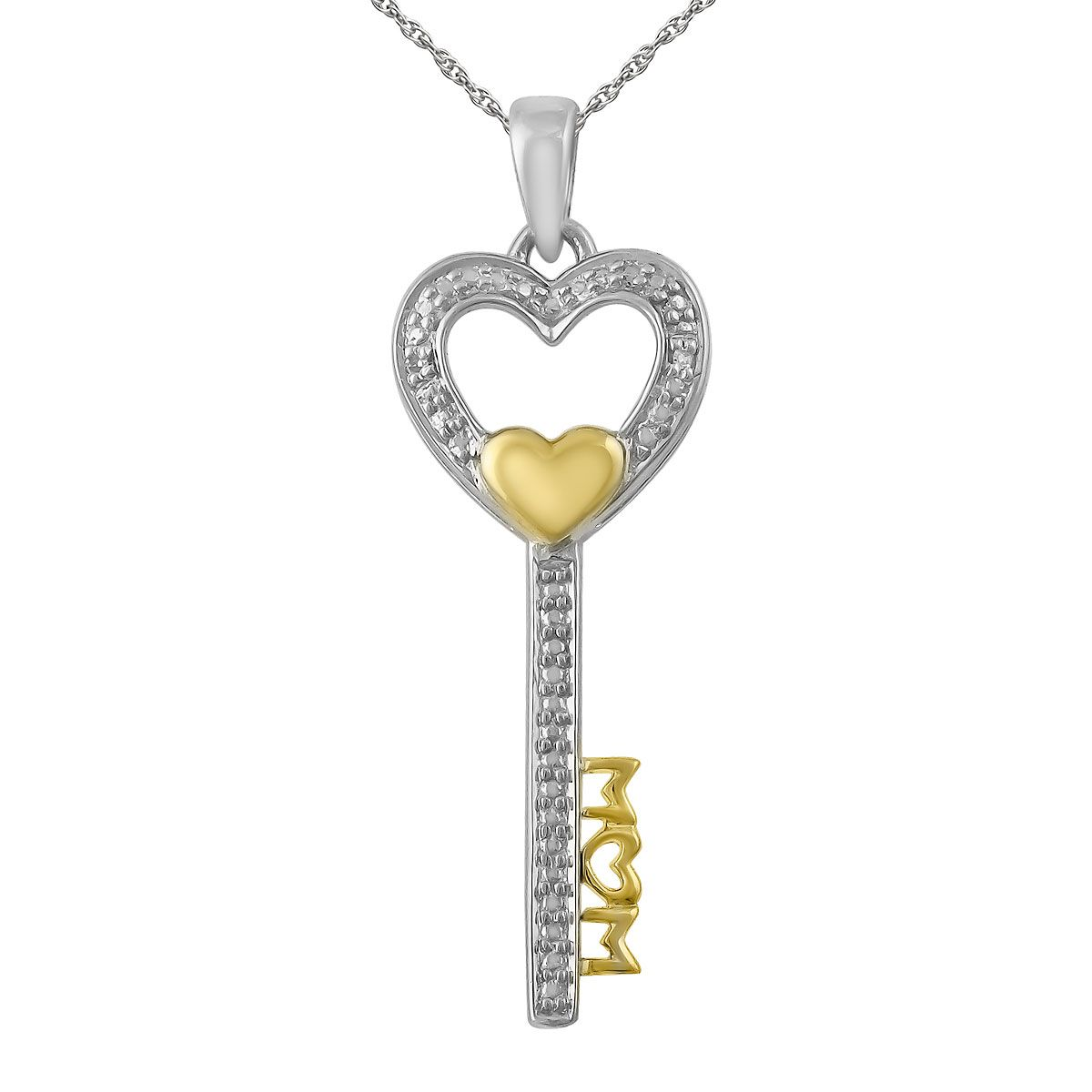 d5b3a81fd874c Diamond Accent Mom Key with Heart Pendant with 18