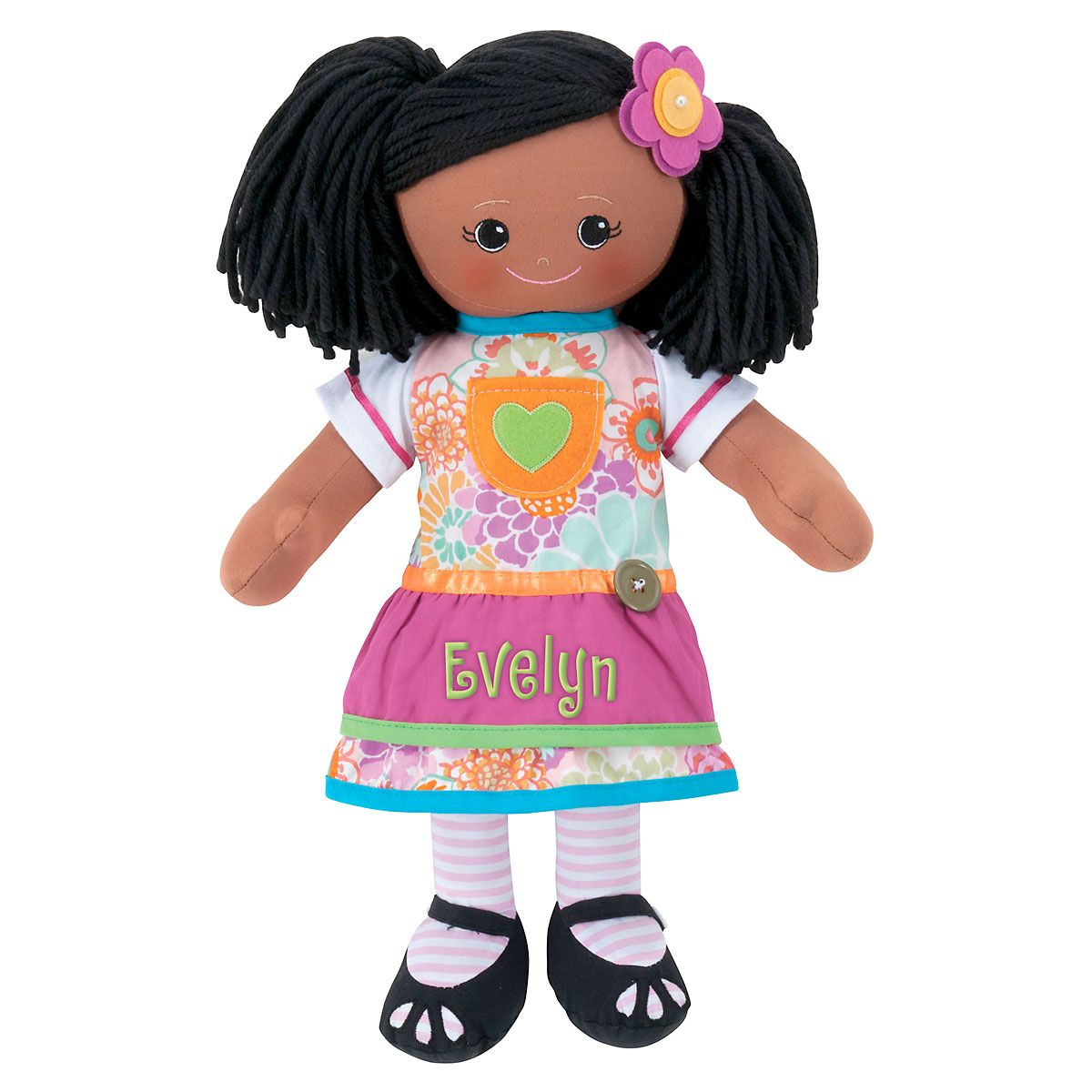 Personalized African American Rag Doll with Apron Dress