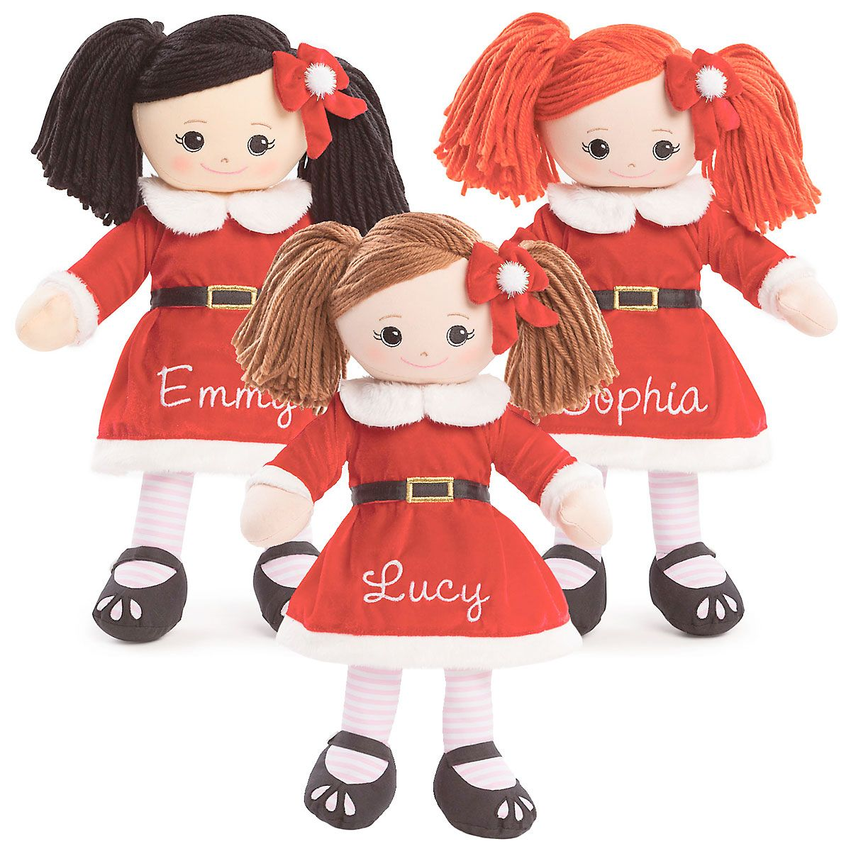 Personalized Rag Doll in Santa Dress