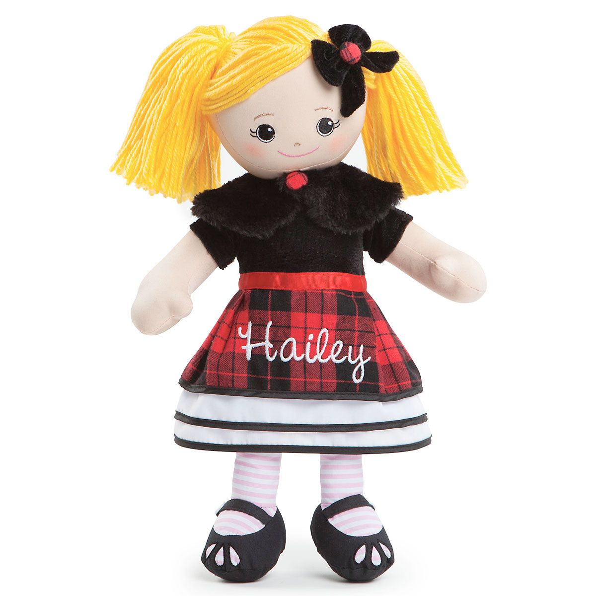 Personalized Blonde Rag Doll in Plaid Dress