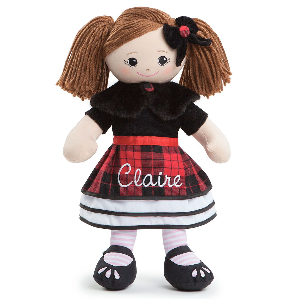 Personalized Brunette Rag Doll in Plaid Dress