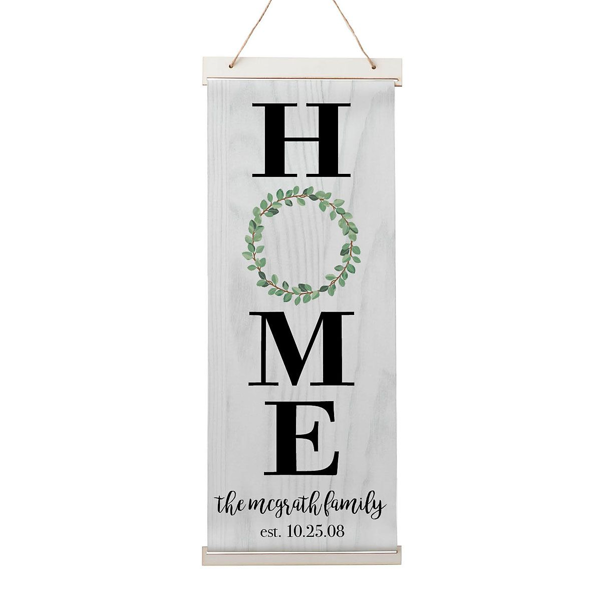 Personalized Home Wreath Hanging Canvas