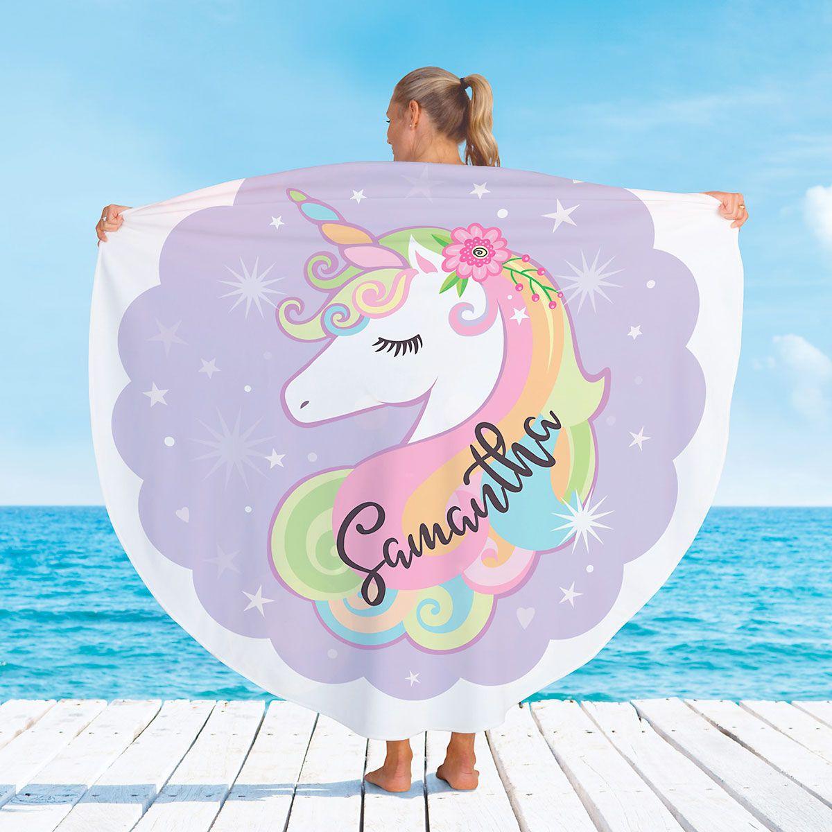 Personalized Unicorn Round Beach Towel