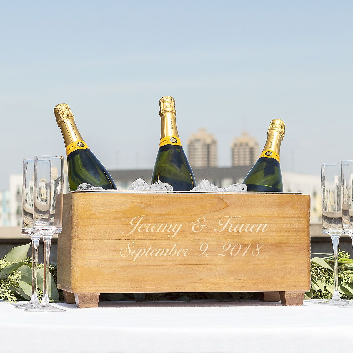 Personalized Wooden Wine Trough