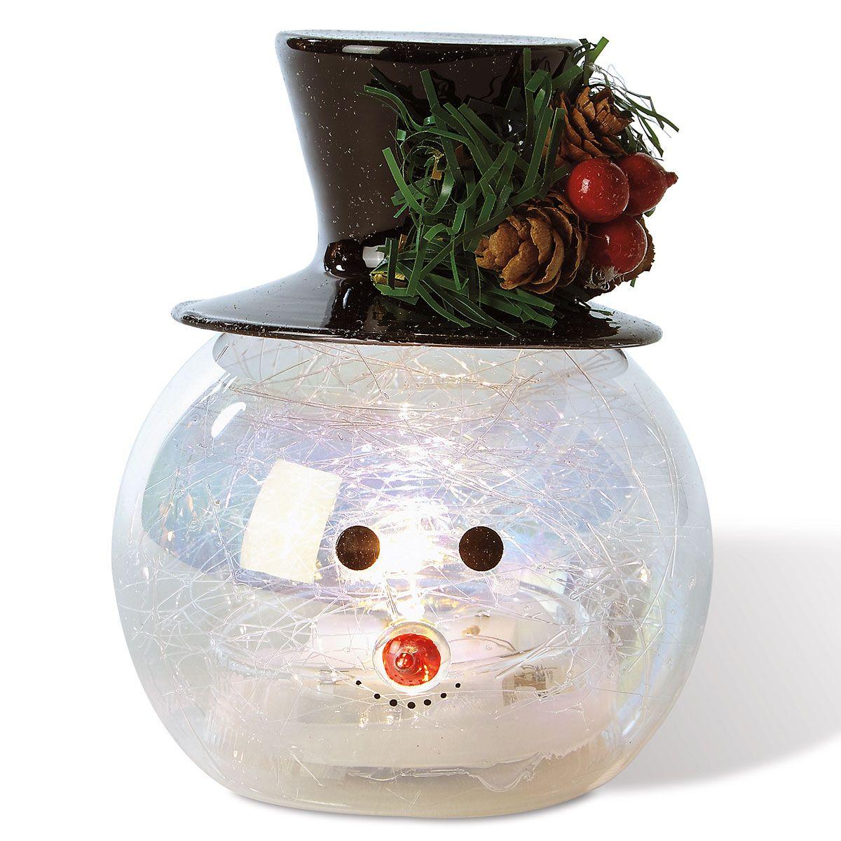 Light-Up Glass Snowman