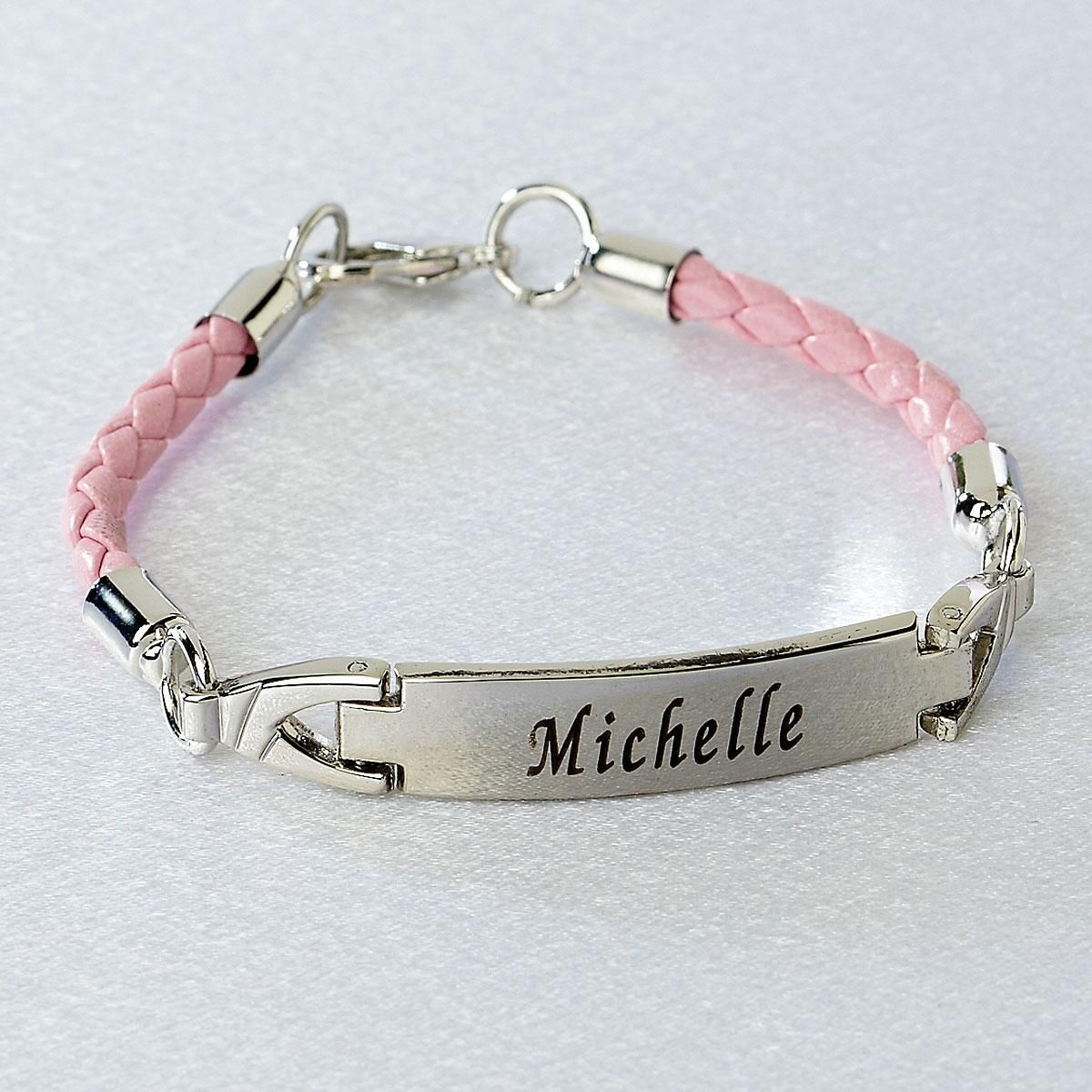 Pink Braided Leather ID Bracelet