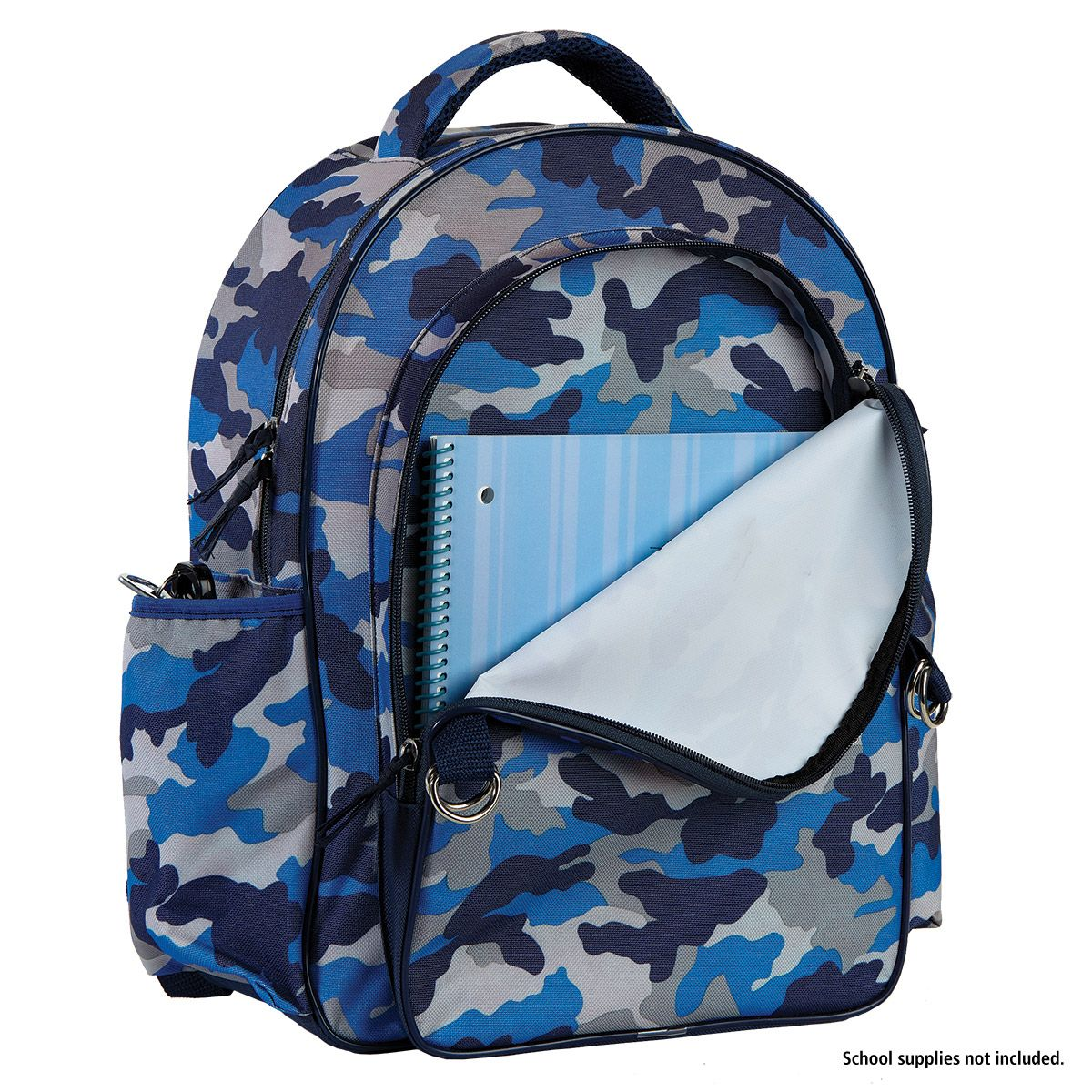 Blue Camo Backpack with Attached Personalized Lunch Bag