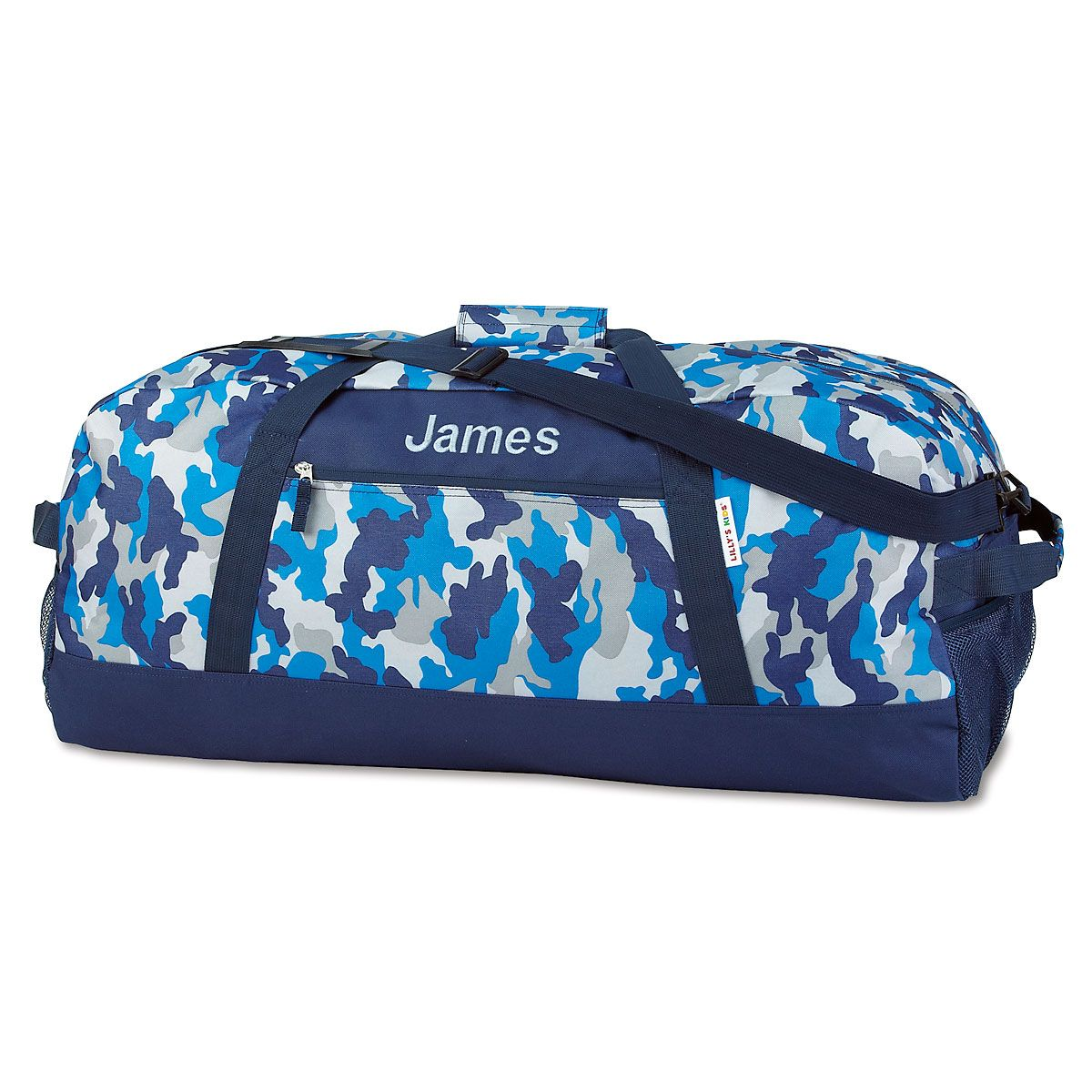 Blue Camo Personalized Duffel Bags
