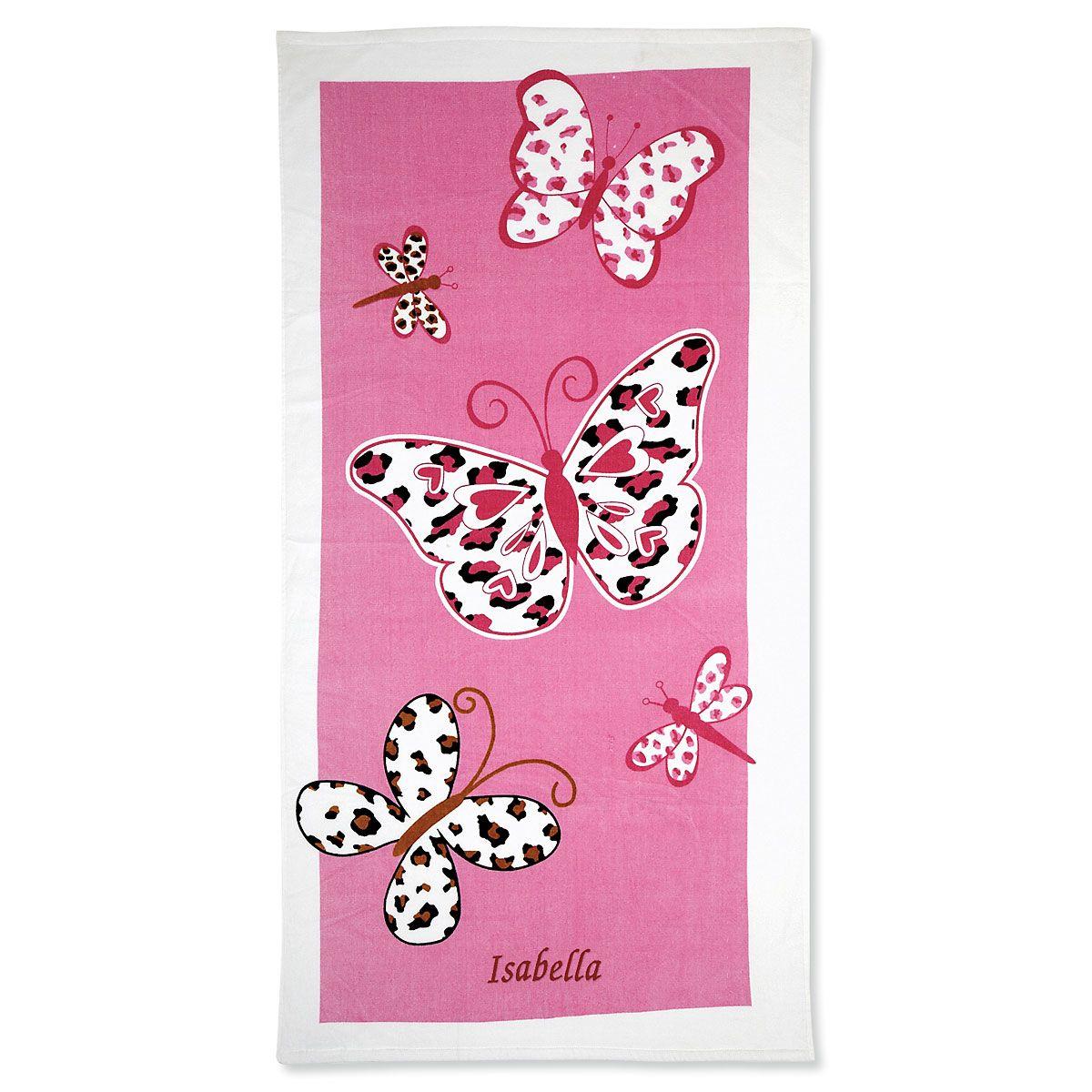 Leopard Butterflies Personalized Towel