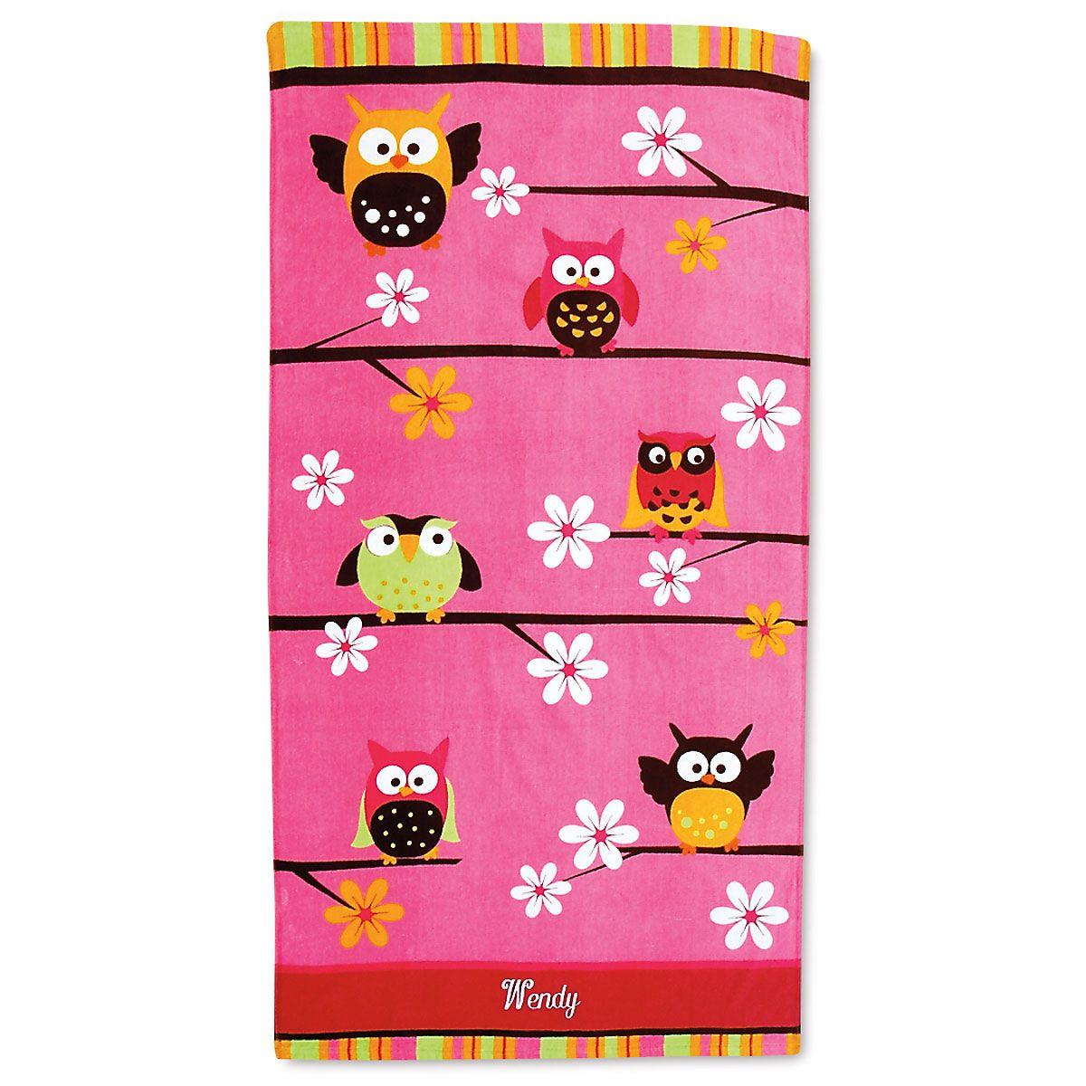 Owl Beach Personalized Towel