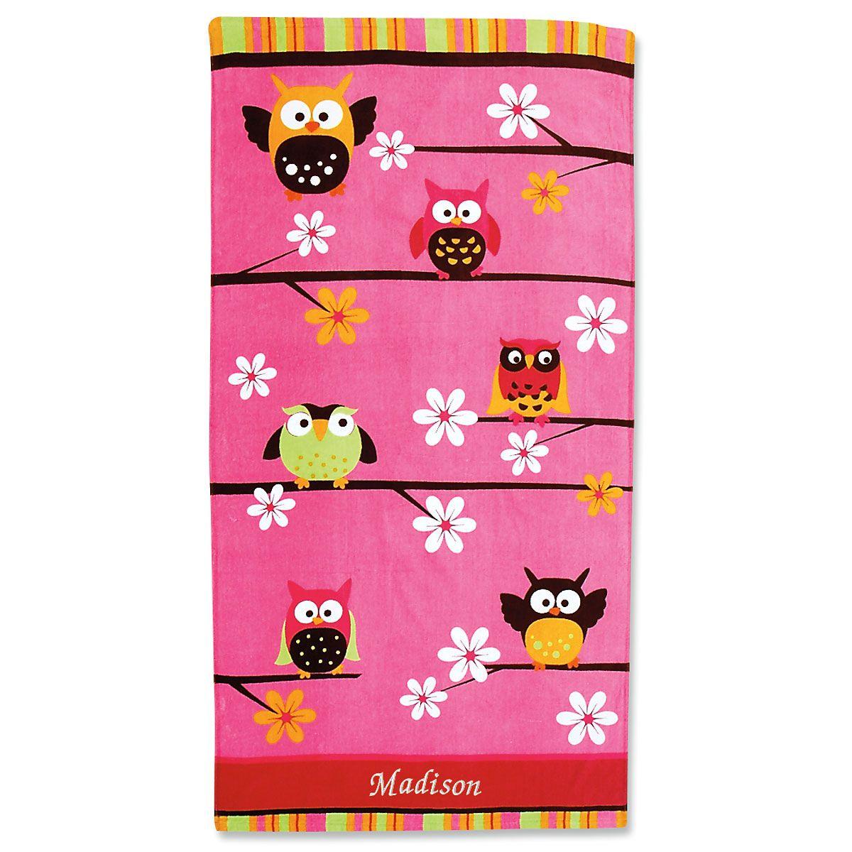 Personalized Owl Beach Towel