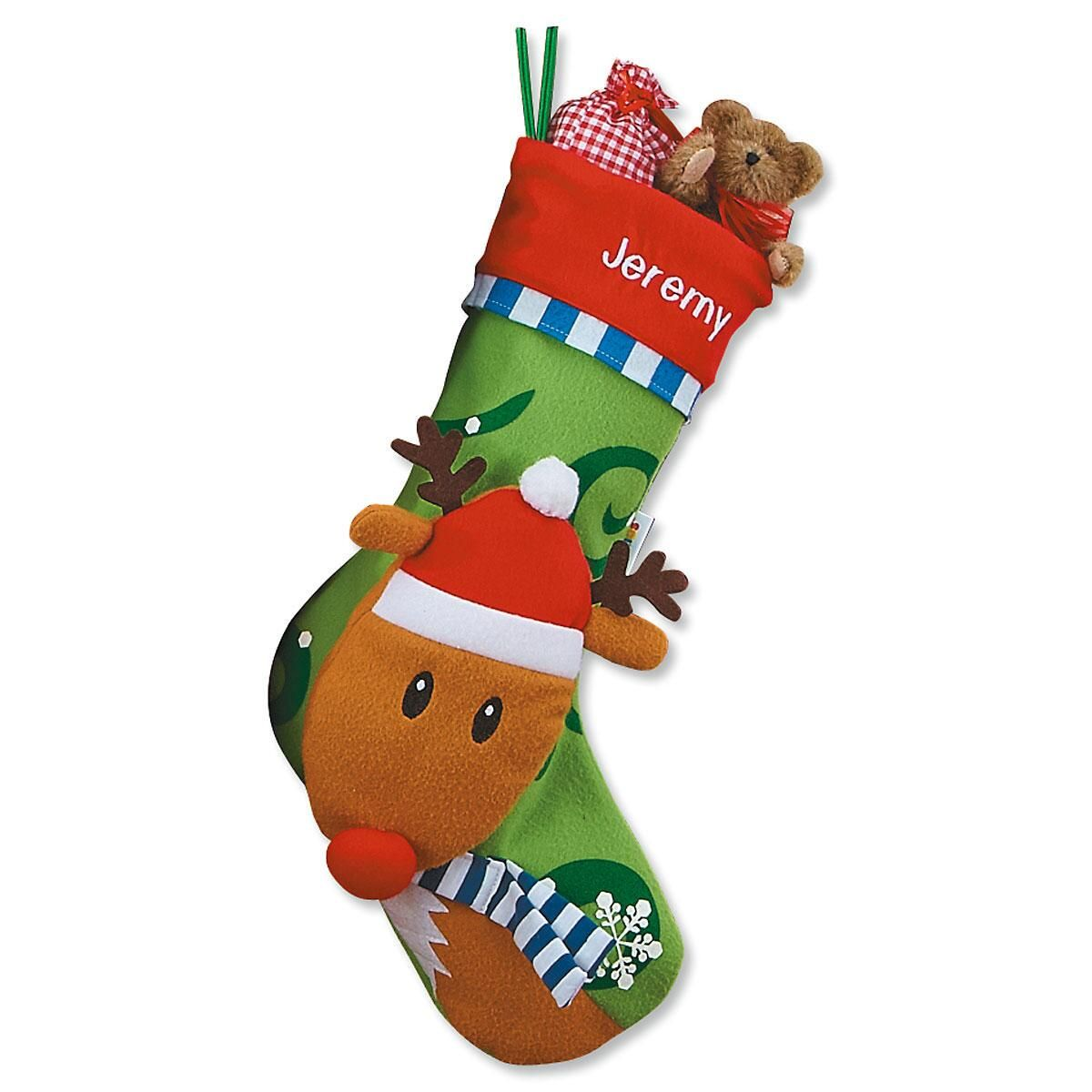 3-D Rudolph Christmas Stocking
