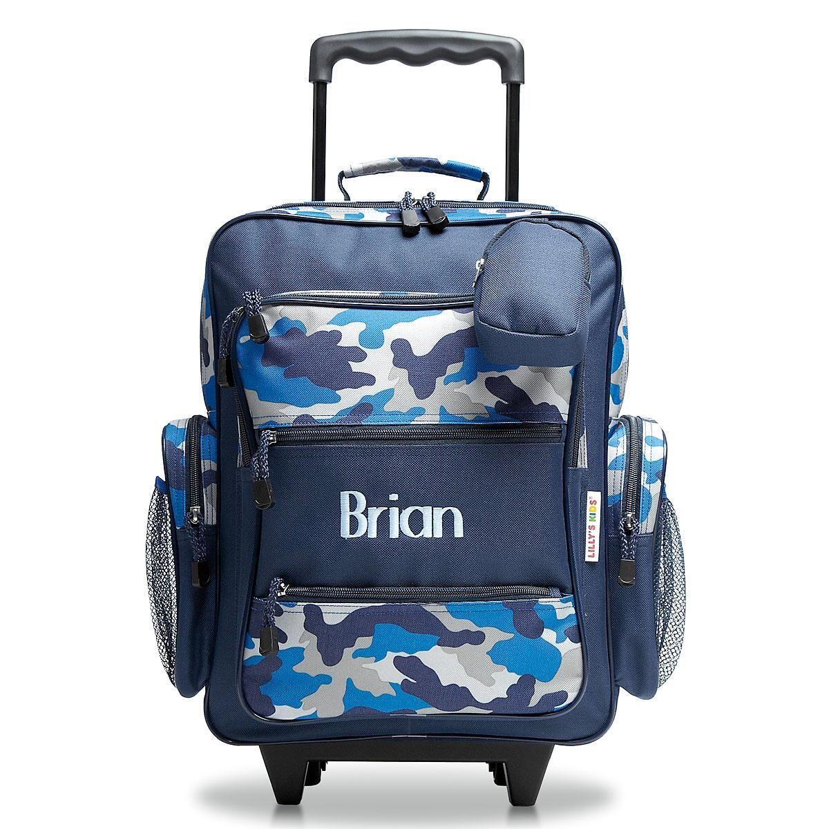 Blue Camo Rolling Luggage