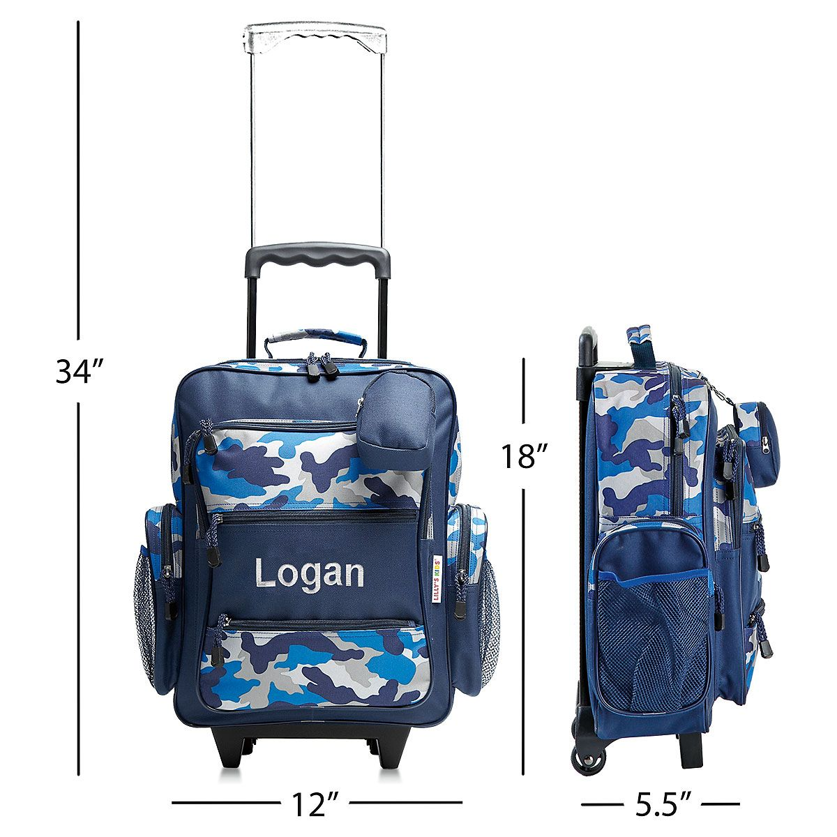 Blue Camo Personalized Rolling Luggage