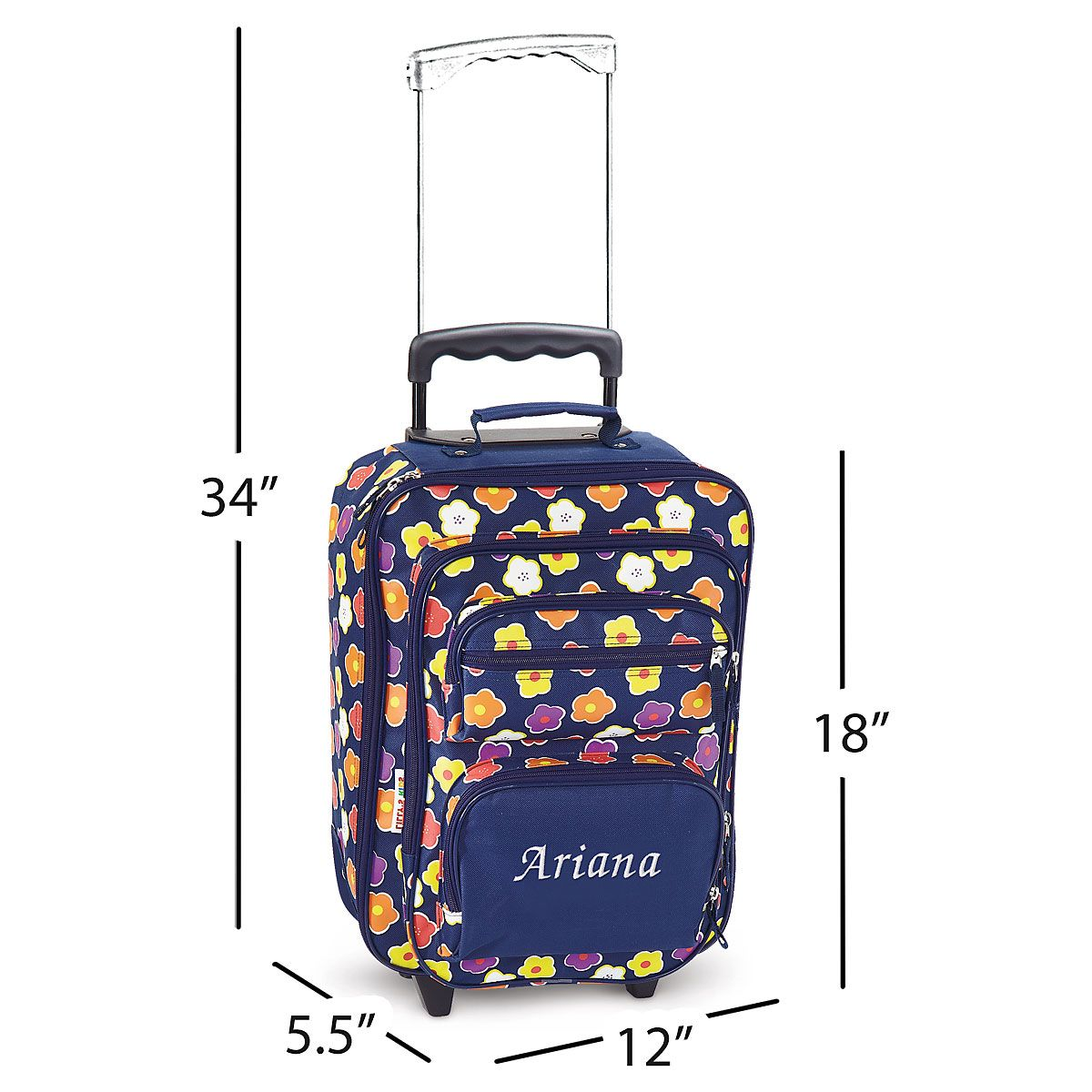 Navy Floral Personalized Rolling Luggage