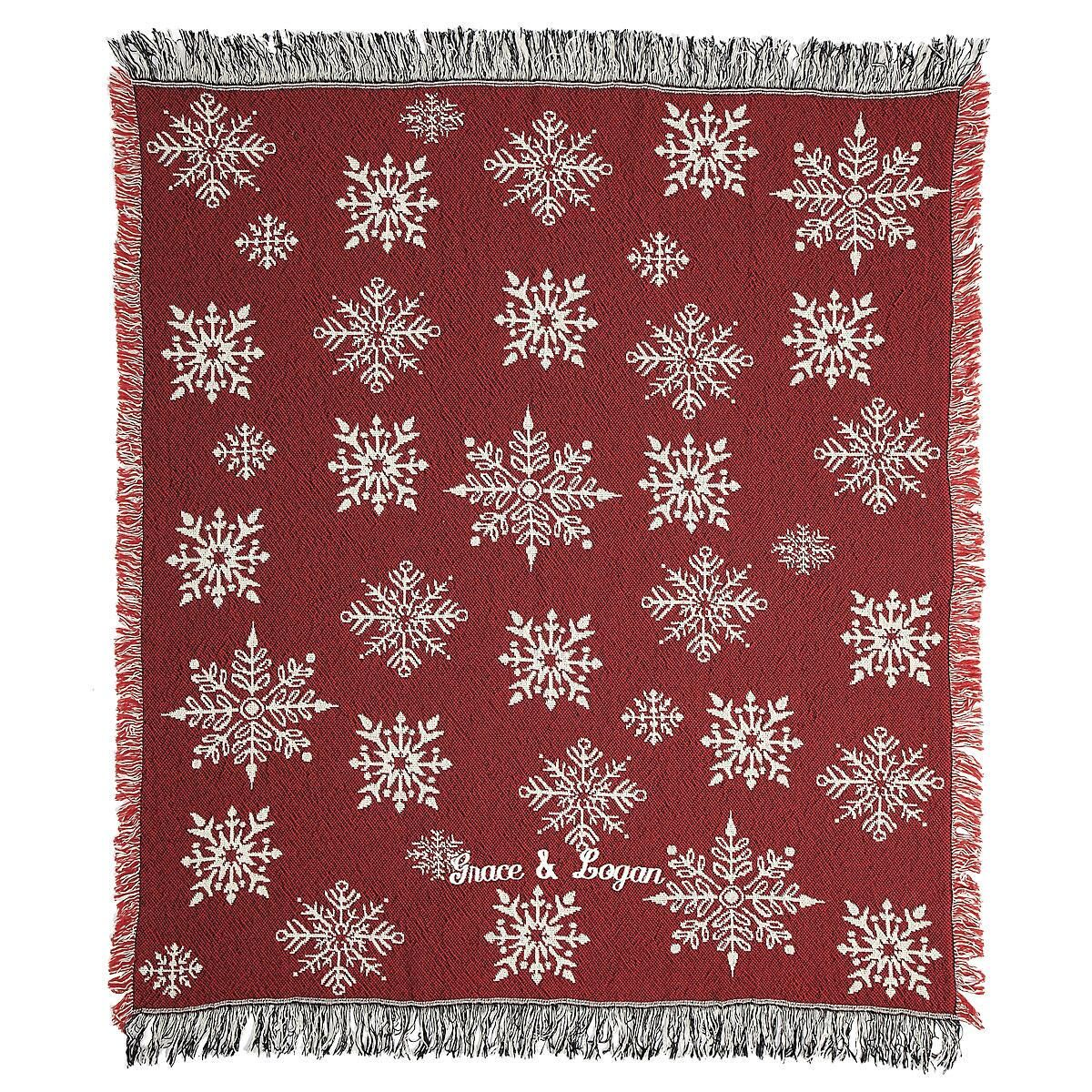 Red and White Snowflake Throw
