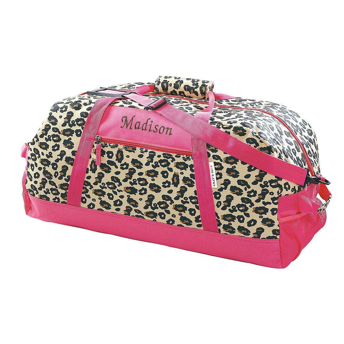 "Leopard Print Personalized 23"" Spots Duffel Bag"