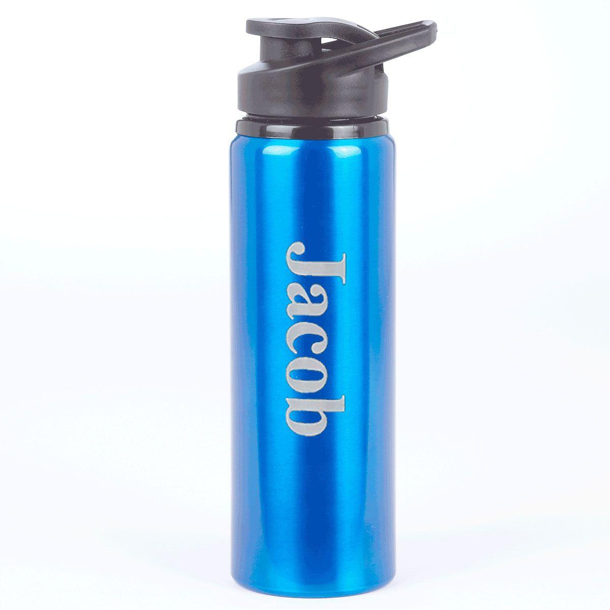 Blue Personalized Anodized Aluminum Water Bottle