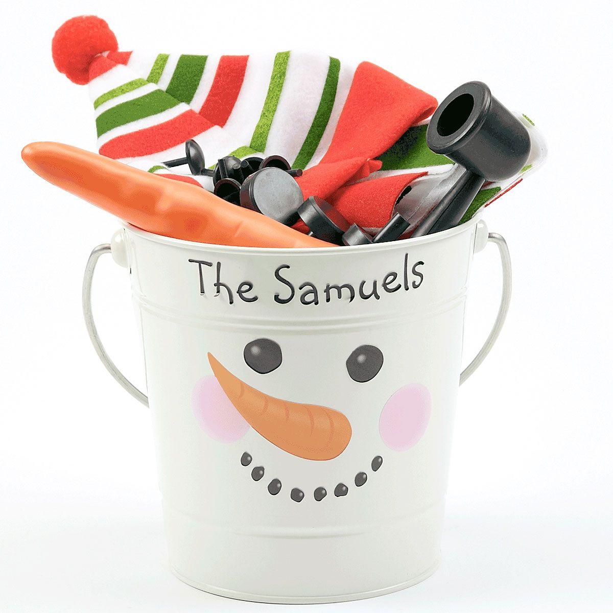 Tin Bucket with Snowman Kit